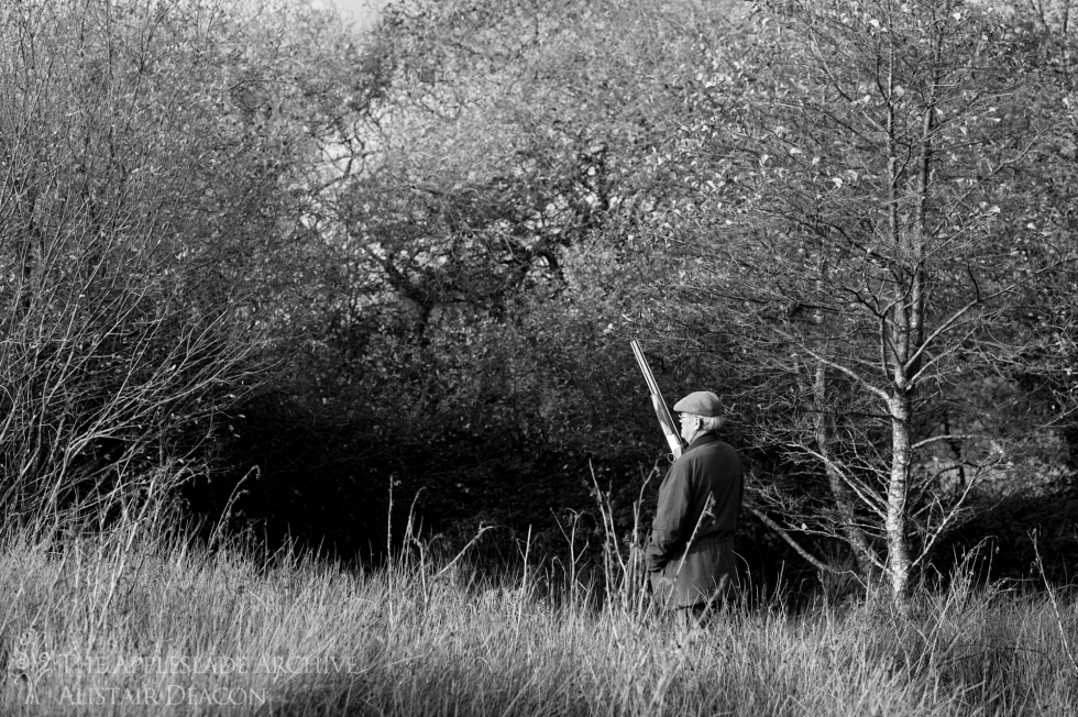 A shooter stands at his peg, Fraddon, Cornwall, 17th Nov 2012