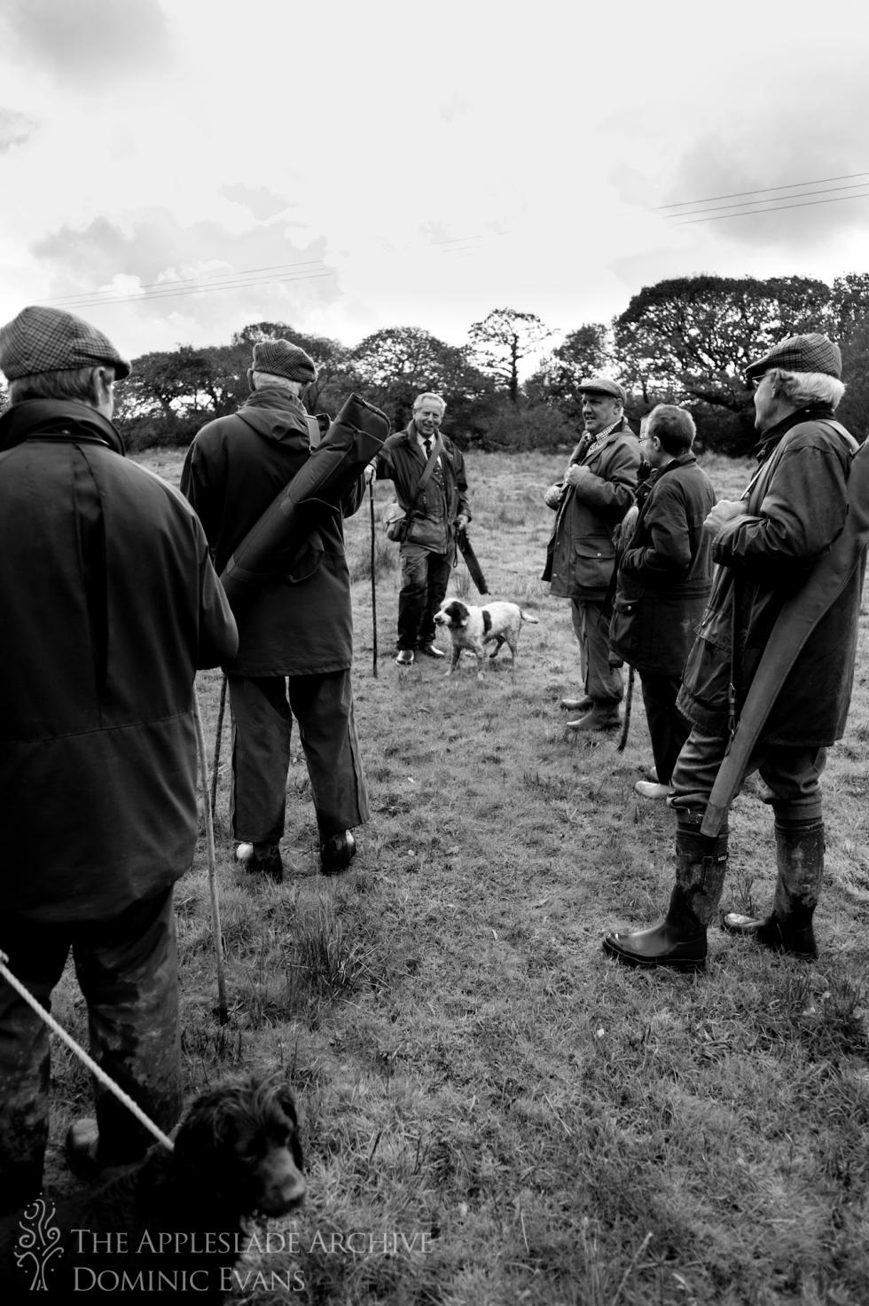 A group of shooters talking between drives, St. Enoder, Nr. Fraddon, Cornwall, 9th Nov 2013