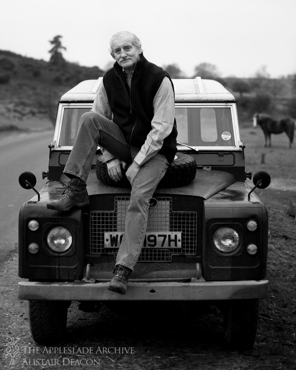 Richard Deacon with his Land Rover, Linwood, New Forest, Hampshire, 17th Jan 2012