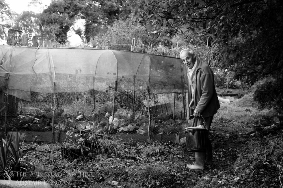 Stanley Matthews in his garden, Troan Farmhouse, St. Enoder, Cornwall, October 2014